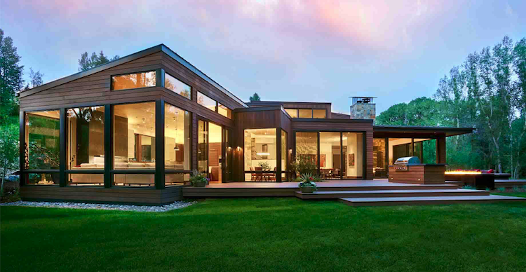 A more modern design pays subtle tribute to the region's wood cabins. Photo: courtesy Brewster McLeod Architects