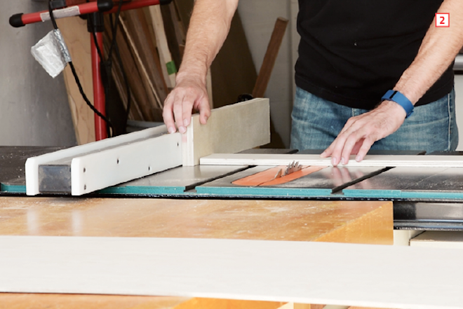 How to make drawer boxes—place the piece vertically against the fence