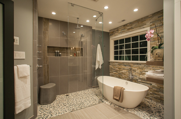 2015 Design Awards, Virginia, Michael Nash Design Build & Home, bathroom remodel, tub adn shower view