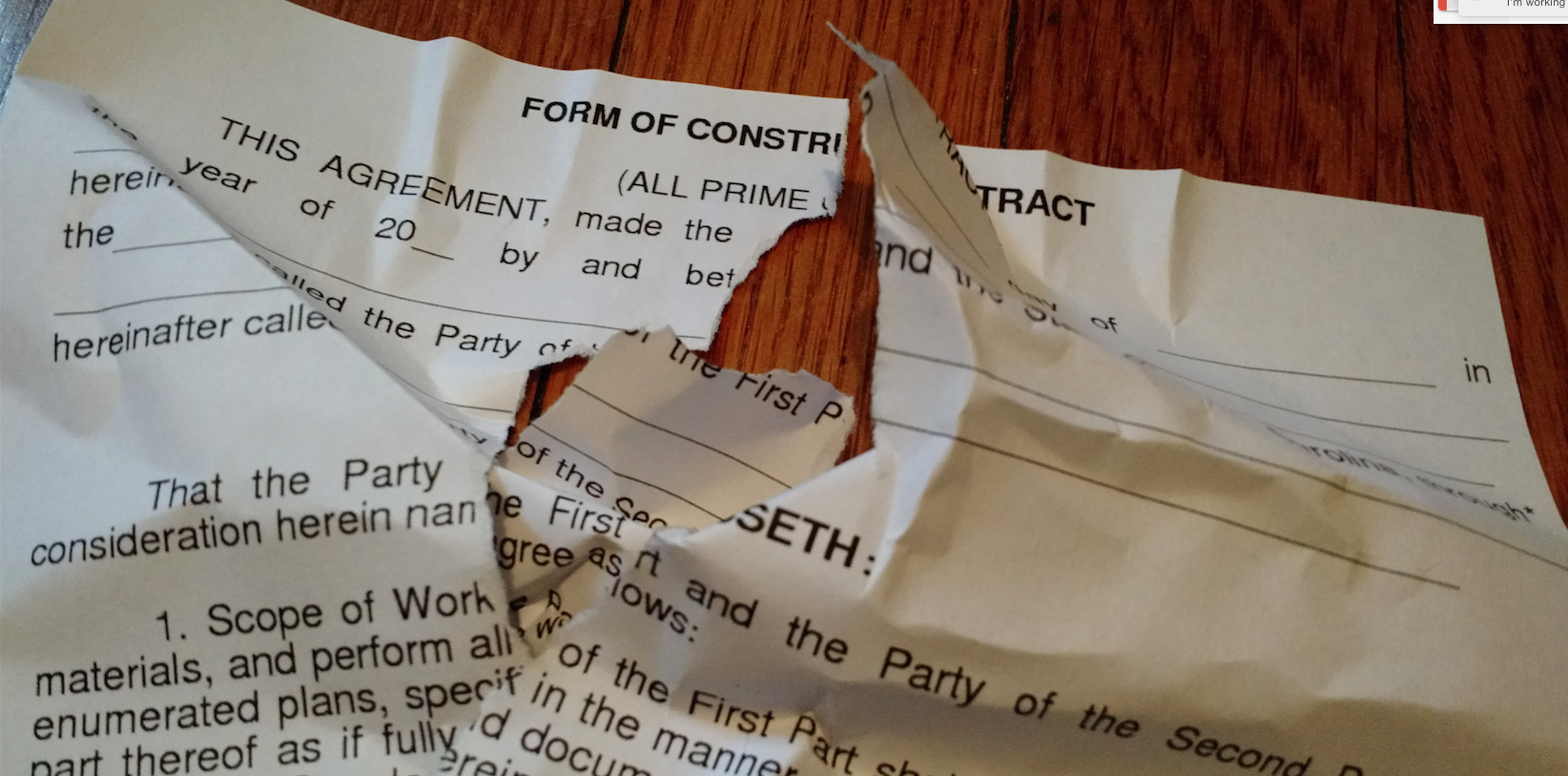 ripped up home improvement contract