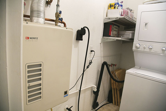 Tankless Water Heater an Easy Fit in a Residential Laundry Room