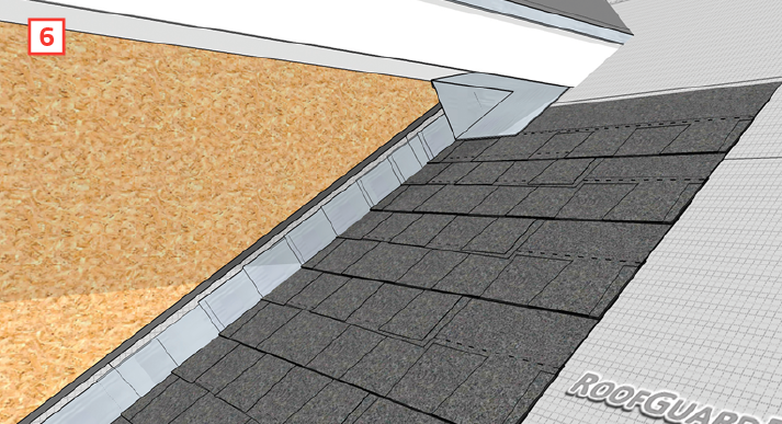 6 At The Top Roll Roof Underlayment Up Onto Soffit And Use L Stick To Seal Connection Cover Membrane With A Metal