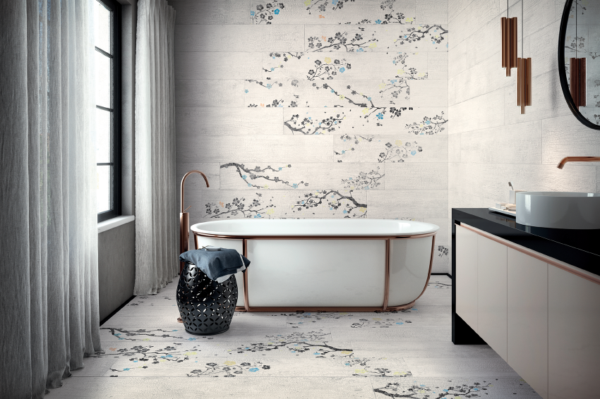 Italian tile products-Cersaie 2017-Ceramiche Refin-yakisugi-Kasai collection
