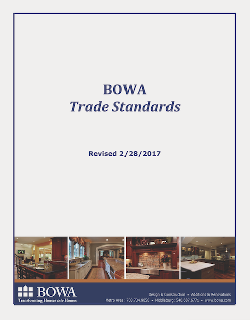 BOWA remodeling company trade standards document-cover