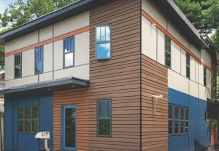 LEED Completed project with PVC siding cladding
