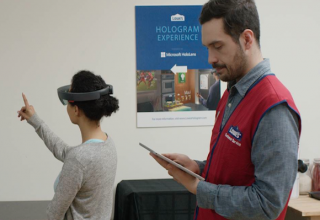Microsoft HoloLens partners with Lowe's to incorporate augmented reality technology in remodeling demonstrations.