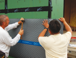 Delta-Dry is an HDPE roll material at the core of Cosella-Dörken's Delta Rainscreen System.