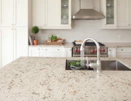 Cambria natural quartz countertop surfacing installed in a kitchen.