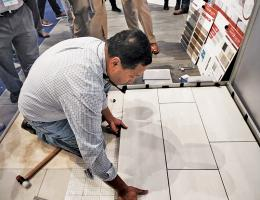 A floating floor system that installs twice as fast as traditional tile