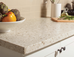 Kitchen countertop application of Daltile's One Quartz solid surfacing.