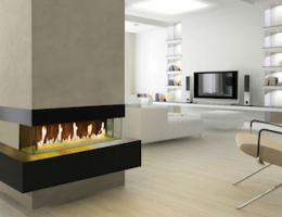 DaVinci Fireplaces linear fireplace in living room