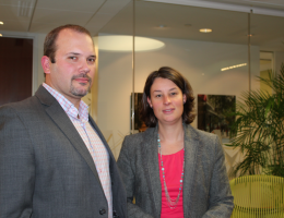 Christopher Dietz pictured with his lawyer, Sara Kropf.