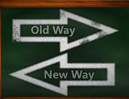 Old Way, New Way on a sign