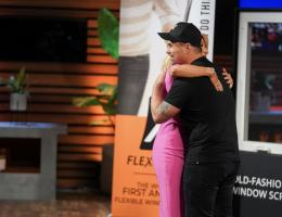 joe altieri hugging his Shark Tank investor Lorie Greiner