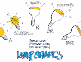 A sketch of some of the most common LED bulb shapes available.