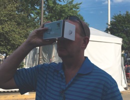 Landis Architects/Builders uses cardboard VR viewers at an event to engage with attendees