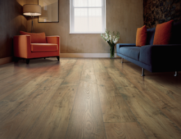 The Mohawk Rare Vintage collection of laminate flooring features heavily textured planks with the appearance of reclaimed hardwood.