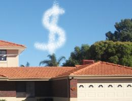 dollar sign floating over roofs to indicate increased home improvement spending