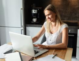 Woman on laptop learning