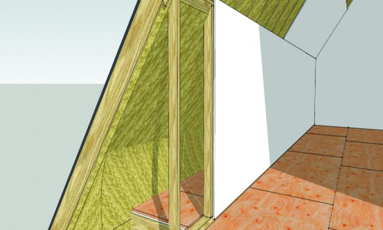 [2] Don't try to insulate a knee wall; instead, insulate the roof behind it. Use SPF to completely fill the unvented rafter bays, bringing the foam into the joist bays and even on top of the floor sheathing. Fibergalss batts will work, but only with soffit and ridge venting and a continuous air channel under the roof sheathing.