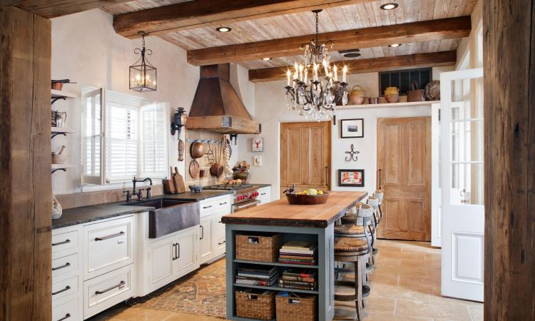 A French country style kitchen designed by Richard Ourso, CKD, CAPS. Co-designers included Vickie Mire, CKD, CAPS, Michelle Livings, AKBD, CAPS, LEED.