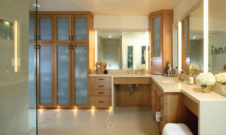 An example of universal design, this bathroom provides occupants the  flexibility