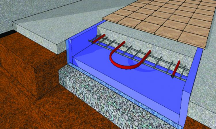 [5] In-floor heating should be isolated with rigid foam both underneath and at the perimeter. In an existing basement, cut out the area to be heated, excavate to make room for stone, a layer of poly, and insulation, and pour new concrete.