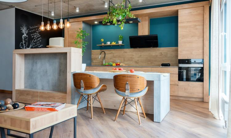 wood kitchen with blue accents