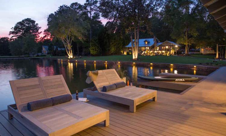 boat house deck with loungers