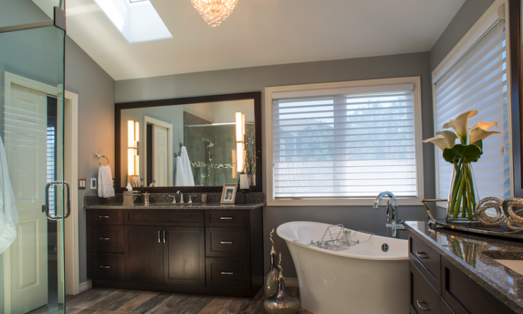 Outdated 1980s-style bathroom after remodel
