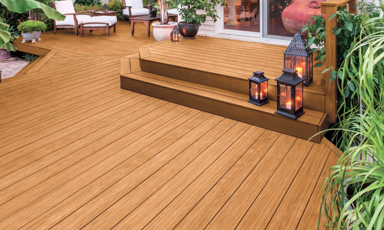 A deck stained with PPG timeless stain