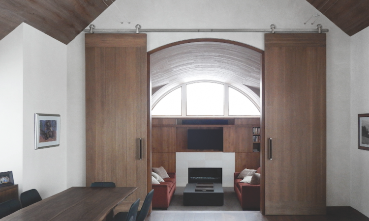 Barn doors can create levels of privacy in a space. Photo: courtesy Baldur by Krown Lab