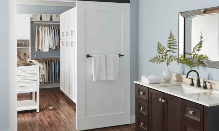 Beau Barn Door To The Bathroom. Photo: Courtesy Johnson Hardware
