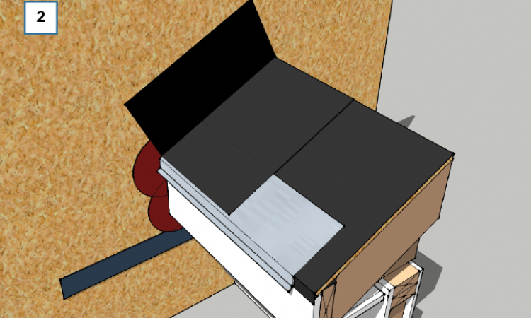 Step 2: Flash the roof and roof-wall connection.