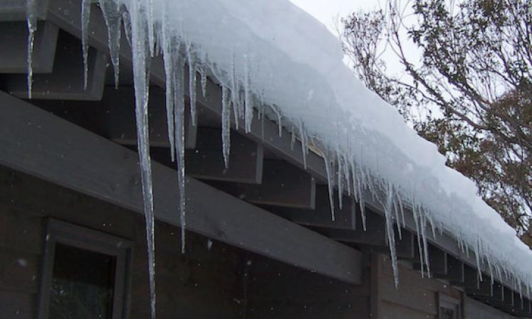 Severe ice damming on residential roof