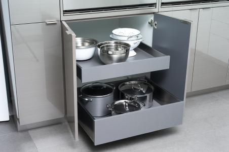 Dura Supreme Cabinetry Stainless Steel Drawers and Roll-Out Shelves