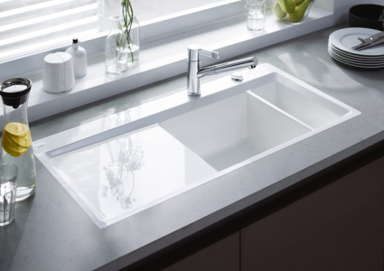 Duravit kiora kitchen sink pro remodeler designed by sieger design kiora is a straight lined kitchen sink with a 2 inch wide frame around the sink that tapers inward to provide splash protection workwithnaturefo