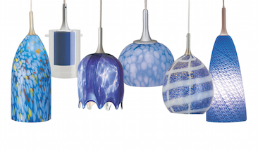 A sampling of Nora Lighting's wide variety of blue-glass pendant styles.